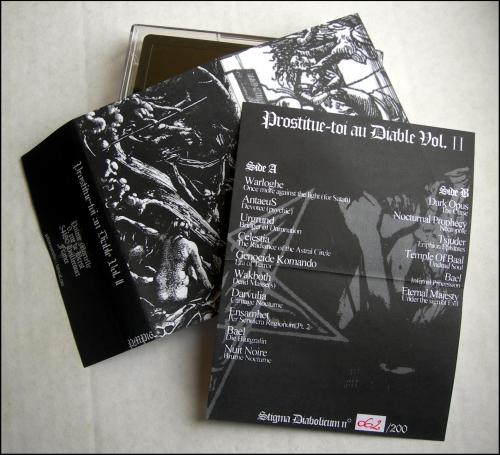 prostitue-toi au diable volume 2,compilation,demo-tape,démo-k7,warloghe,antaeus,celestia,urgrund,darvulia,ensamhet,bael,nuit noire,tsjuder,temple of baal,eternal majesty,black metal