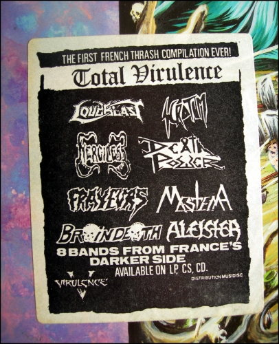 total virulence,compil,compilation,vinyl,lp,thrash metal,death metal,loudblast,merciless,scrotum,aleister,mestema,deathpower,frayeurs,braindeath