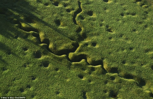 The still pockmarked landscape of Beaumont Hamel on the Somme where the Newfoundland Regiment were decimated by German machine guns.jpg