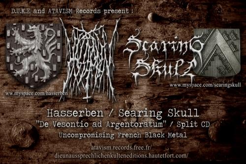 hasserben,searing skull,de vesontio ad argentoratum,cd,split,split cd,d.u.k.e,d.u.k.e 048,black metal